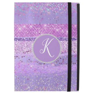 "Capa Para iPad Pro 12.9"" Pro caso do iPad Monogrammed roxo do Glitz"