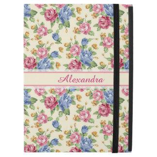 """Capa Para iPad Pro 12.9"""" Rosa romântico Pastel da flor, vermelho, nome azul"""