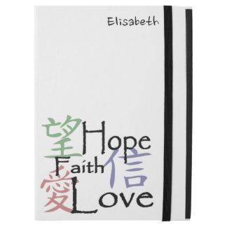 """Capa Para iPad Pro 12.9"""" Símbolos chineses para o amor, a esperança e a fé"""