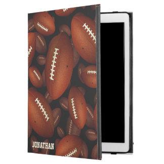 """Capa Para iPad Pro 12.9"""" teste padrão dos gráficos do futebol no preto"""