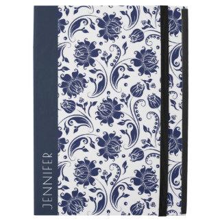 """Capa Para iPad Pro 12.9"""" Teste padrão floral branco & azul marinho dos"""