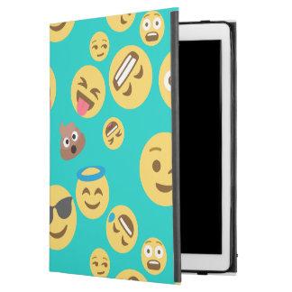 """Capa Para iPad Pro 12.9"""" Teste padrão louco de Emoji da cerceta"""