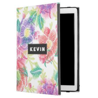 """Capa Para iPad Pro 12.9"""" Teste padrão tropical das flores & das folhas"""