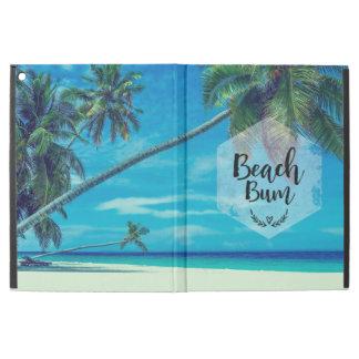 """Capa Para iPad Pro 12.9"""" Tipografia do vagabundo da praia com palmeiras"""