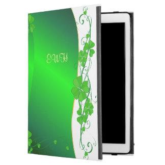 "Capa Para iPad Pro 12.9"" Trevo afortunado verde seu monograma"