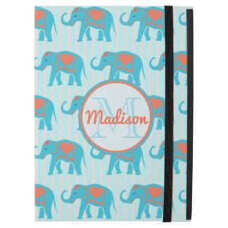 "Capa Para iPad Pro 12.9"" Turquesa da cerceta, elefantes azuis, nome das"