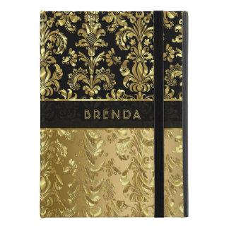 "Capa Para iPad Pro 9.7"" Damascos florais elegantes do ouro preto &"