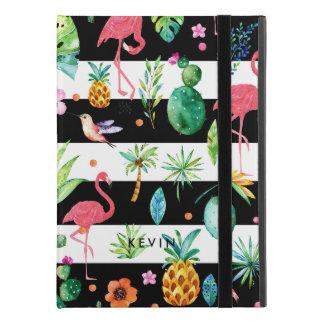 """Capa Para iPad Pro 9.7"""" Listras pretas & flamingos coloridos do flor & os"""