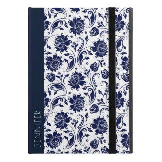 "Capa Para iPad Pro 9.7"" Monograma floral branco & azul marinho dos"