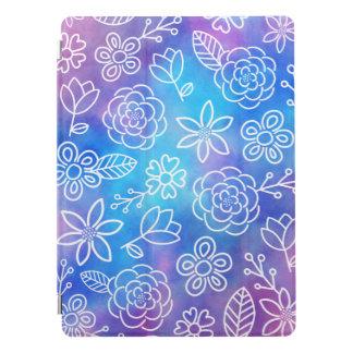 Capa Para iPad Pro Aguarela azul e roxa com flores Doodled