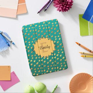 Capa Para iPad Pro Monograma verde e brilhante bonito do ouro