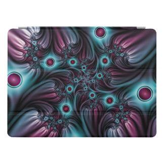 Capa Para iPad Pro Na arte azul do Fractal do abstrato do rosa da