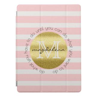 Capa Para iPad Pro O brilho na moda do ouro do monograma cora listras