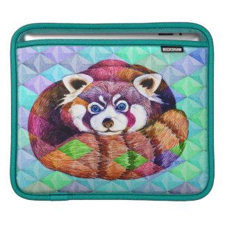 Capa Para iPad Urso de panda vermelha no cubism de turquesa