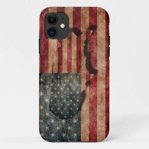 Capa Para iPhone 11 Estrelas dos EUA do Grunge do vintage & bandeira e