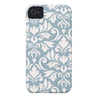 Capa Para iPhone 4 Case-Mate Arte que do damasco do Flourish eu desnato no azul