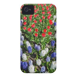 Capa Para iPhone 4 Case-Mate Campo de flores com as tulipas azuis e os jacintos