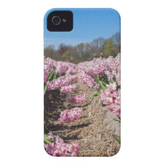 Capa Para iPhone 4 Case-Mate Campo de flores com os jacintos cor-de-rosa em