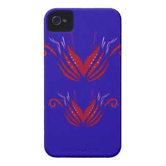 Capa Para iPhone 4 Case-Mate Elementos do design vermelhos no azul