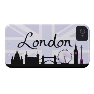 Capa Para iPhone 4 Case-Mate Roteiro de Londres no céu de Union Jack & locais
