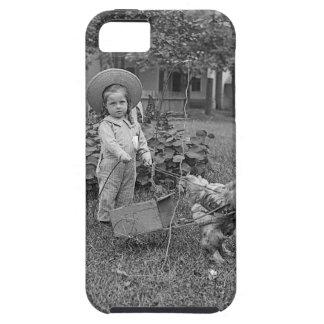 Capa Para iPhone 5 1880's carro adorável da menina e do galo no