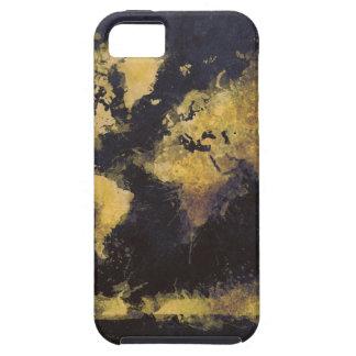 Capa Para iPhone 5 amarelo preto do mapa do mundo