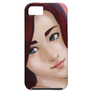 Capa Para iPhone 5 cabelo e menina vermelhos do anime dos olhos azuis
