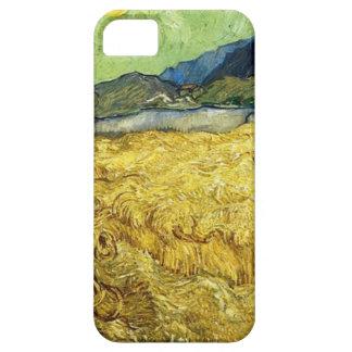 Capa Para iPhone 5 Campos de trigo com a ceifeira no nascer do sol -