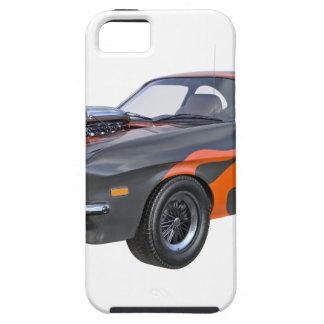 Capa Para iPhone 5 carro do músculo dos anos 70 com chama alaranjada