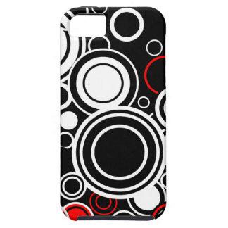 Capa Para iPhone 5 Círculos vermelhos e brancos retros