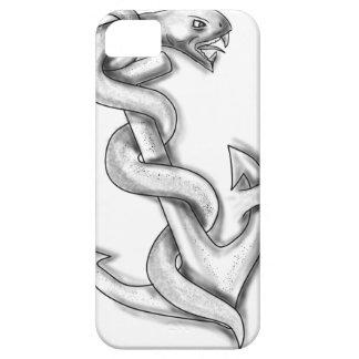 Capa Para iPhone 5 Cobra de Asclepius que ondula acima no tatuagem da