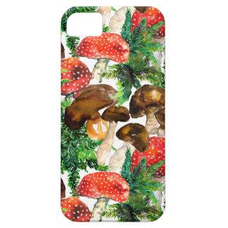 Capa Para iPhone 5 Cogumelos da aguarela e teste padrão verde da