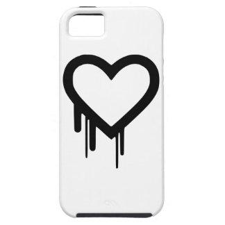 Capa Para iPhone 5 Coração preto do gotejamento de Heartbleed