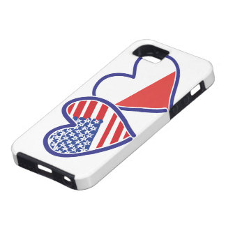 Capa Para iPhone 5 Corações da bandeira do Polônia dos EUA