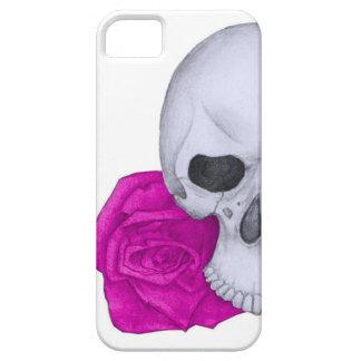Capa Para iPhone 5 Crânio e rosas cor-de-rosa