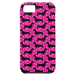 Capa Para iPhone 5 Dachshund cor-de-rosa da polca