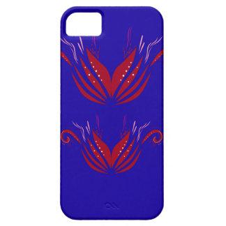 Capa Para iPhone 5 Elementos do design vermelhos no azul