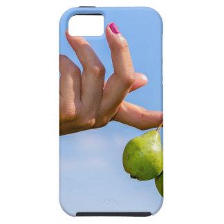 Capa Para iPhone 5 Entregue guardarar duas peras verdes de suspensão