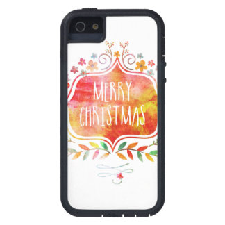 Capa Para iPhone 5 Feliz Natal retro da aguarela