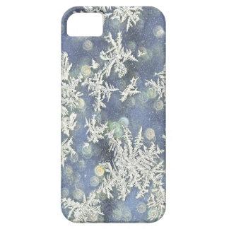 Capa Para iPhone 5 Fotografia macro Frost da natureza no metal azul