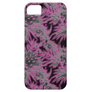Capa Para iPhone 5 Fulgor cor-de-rosa escuro tropical do teste padrão