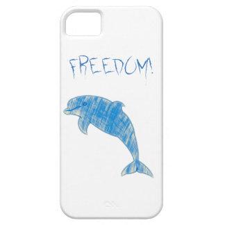 """Capa Para iPhone 5 Golfinho azul do vintage com """"liberdade!"""" texto"""