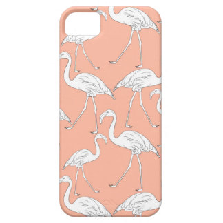 Capa Para iPhone 5 Hand drawn flamingo black outline sketch. Seamless