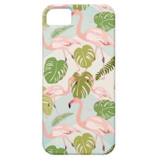Capa Para iPhone 5 Hand drawn pink flamingo and monstera leaves. Seam