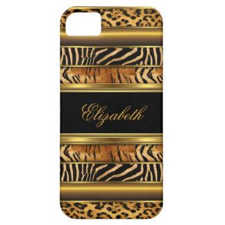 Capa Para iPhone 5 impressão animal misturado do iPhone ouro elegante
