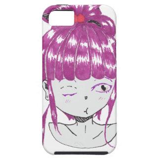 Capa Para iPhone 5 menina adolescente do cabelo cor-de-rosa do chibi