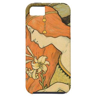 Capa Para iPhone 5 Menina do Pinup de Nouveau do francês no campo das