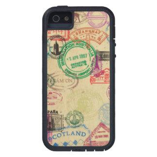 Capa Para iPhone 5 O passaporte do vintage carimba o caso extremo