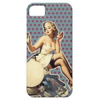Capa Para iPhone 5 Pino retro do vintage das bolinhas acima da menina