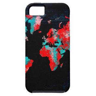 Capa Para iPhone 5 preto vermelho do mapa do mundo